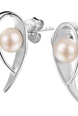 Zilveren oorknoppen - Gerhodineerd - Zoetwaterparel
