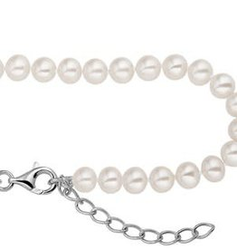 Parel collier - Zoetwaterparel - Zilver - Gerhodineerd -  42-45 cm - 5.5 mm