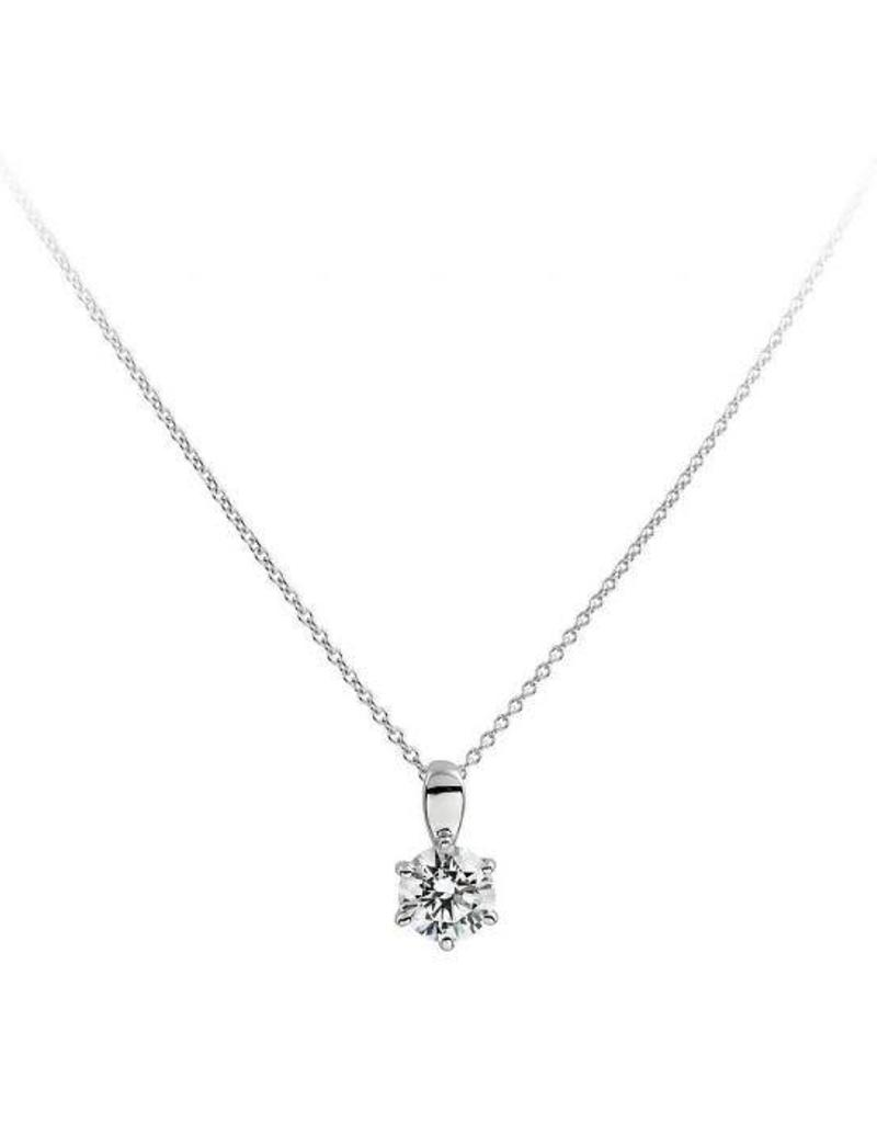 Diamonfire Diamonfire - Zilveren collier met hanger - Zirkonia - 1.00 ct. - 6.25 mm - 45 cm
