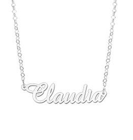 Zilveren naamketting model Claudia