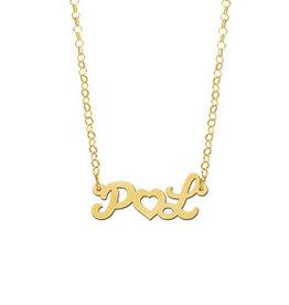 Naamcollier Gouden naamketting model Initialen met hart