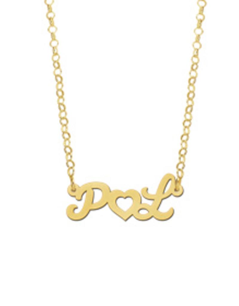 Gouden naamketting model Initialen met hart