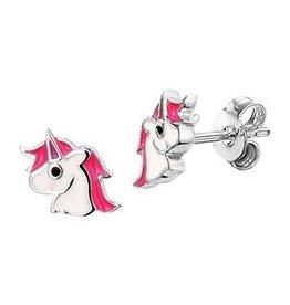 Zilveren oorknoppen - Gerhodineerd - Eenhoorn - Roze