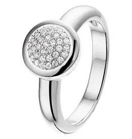 Zilveren ring - Gerhodineerd - Zirkonia - Maat 17.75