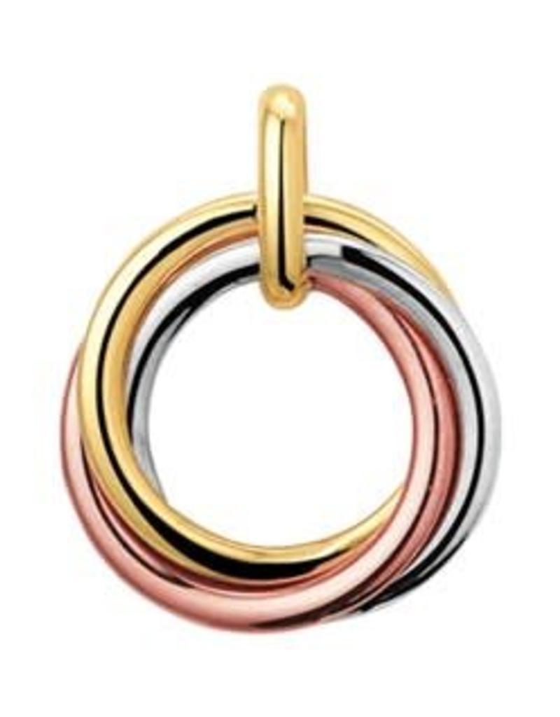 Gouden hanger - 14 karaats - Tricolor