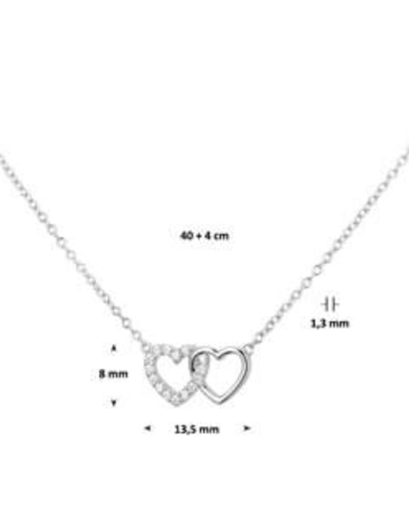 Zilveren collier met hanger - Hartjes - Zirkonia - 40+4 cm