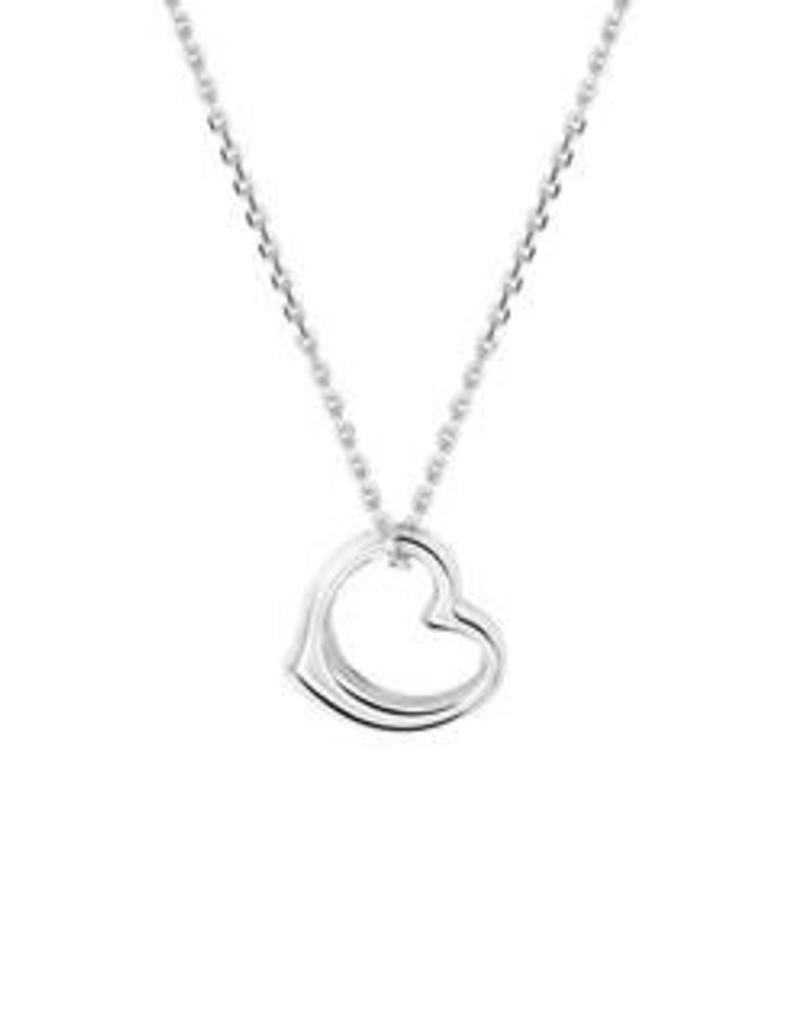 Zilveren collier met hanger - Gerhodineerd - Hart - 41+ 4 cm