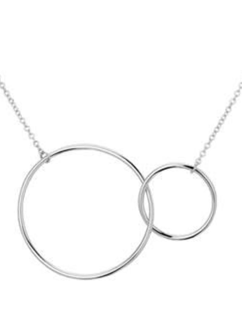 Zilveren collier - 2 ringen - 42 + 4 cm