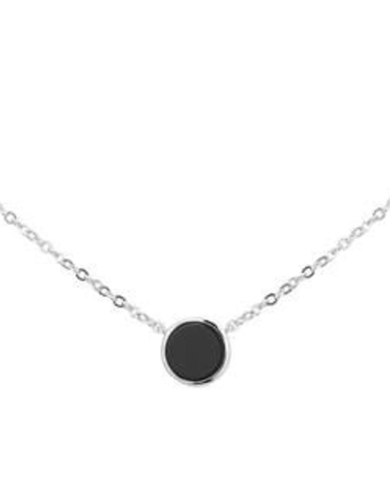 Zilveren collier - Gerhodineerd - Onix - 42 + 3 cm