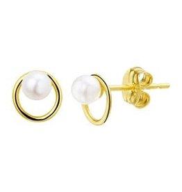 Gouden oorknoppen - Zoetwaterparel