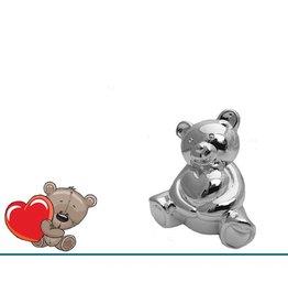 van Steyn Geboortecadeau - Verzilverde spaarpot - Kleine beer met hart