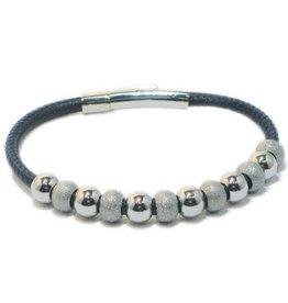 Priddy Priddy - Leren armband - Glitterbolletjes - Blauw