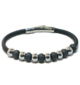 Priddy Priddy - Leren armband - Glitterbolletjes - Zwart