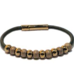 Priddy Priddy - Leren armband - Glitterbolletjes - Groen