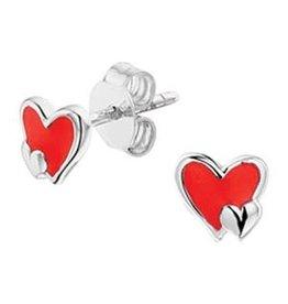 Zilveren oorknoppen - Rood hartje