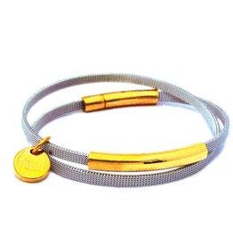 Priddy Priddy stalen armband - Goud kleur - 2 keer rond
