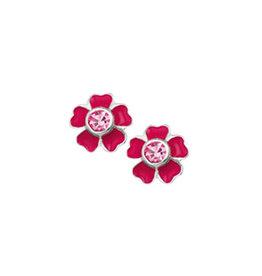Kasius Zilveren oorknoppen - Bloemetje - Donker roze - Zirkonia