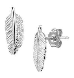 Zilveren oorknoppen - Veertje