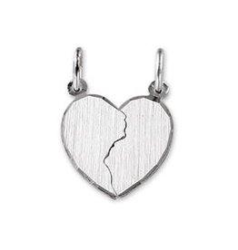 Zilveren hanger - Breekhartje - Gerhodineerd
