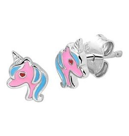Zilveren oorknoppen - Eenhoorn - Roze en blauw