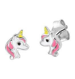 Zilveren oorknoppen - Eenhoorn - Licht roze
