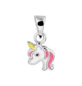 Zilveren hanger - Gerhodineerd - Eenhoorn - Licht roze