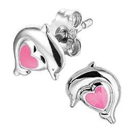 Zilveren oorknoppen - Zilver - Gerhodineerd - Hart met dolfijn