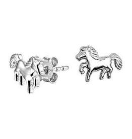 Zilveren oorknoppen - Gerhodineerd - Paard