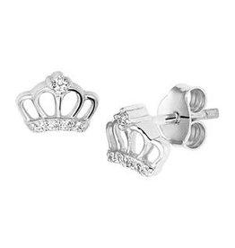 Zilveren oorknoppen - Zirkonia - Gerhodineerd - Kroon