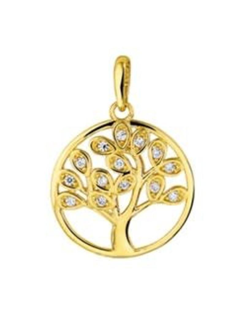 Gouden hanger - Levensboom - Zirkonia