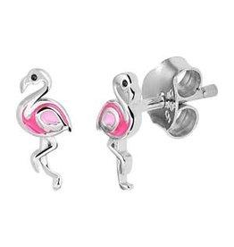 Kasius Zilveren oorknoppen - Gerhodineerd - Roze flamingo