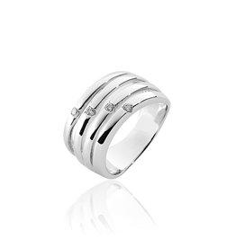 Gisser Zilveren ring - Gerhodineerd - Zirkonia - Maat 56
