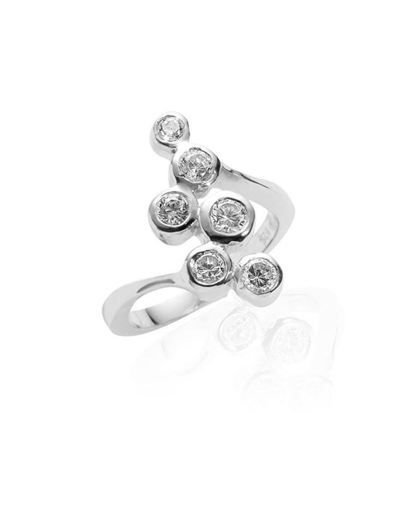 Gisser Zilveren ring - Gerhodineerd - Zirkonia - Maat 54