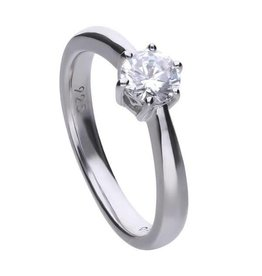 Diamonfire Diamonfire - Zilveren damesring - Solitair - 0.75 ct - Zirkonia - Maat 17