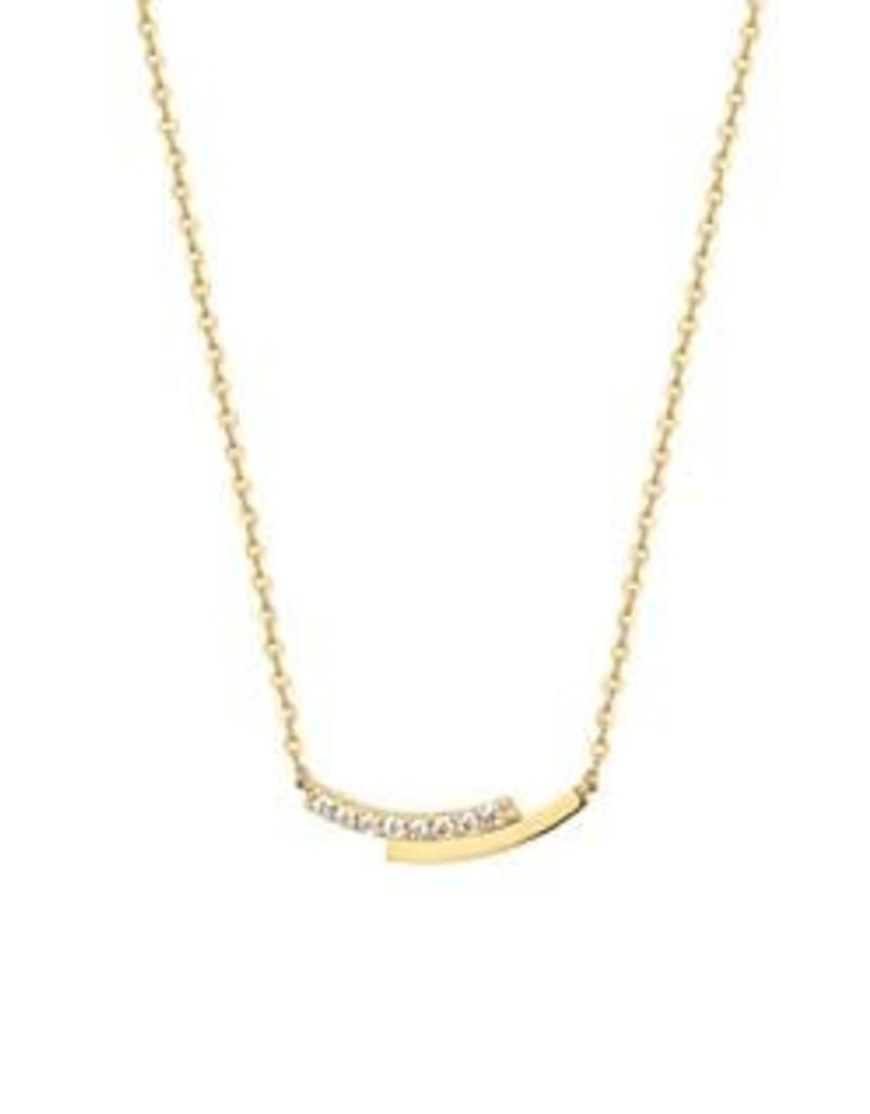 Gouden collier - Anker - Zirkonia - 41 + 4 cm