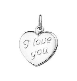 Zilveren graveerplaatje - I love you