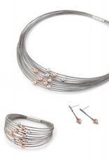 Yo Design Yo Design - Zilveren spangcollier - Rain rose