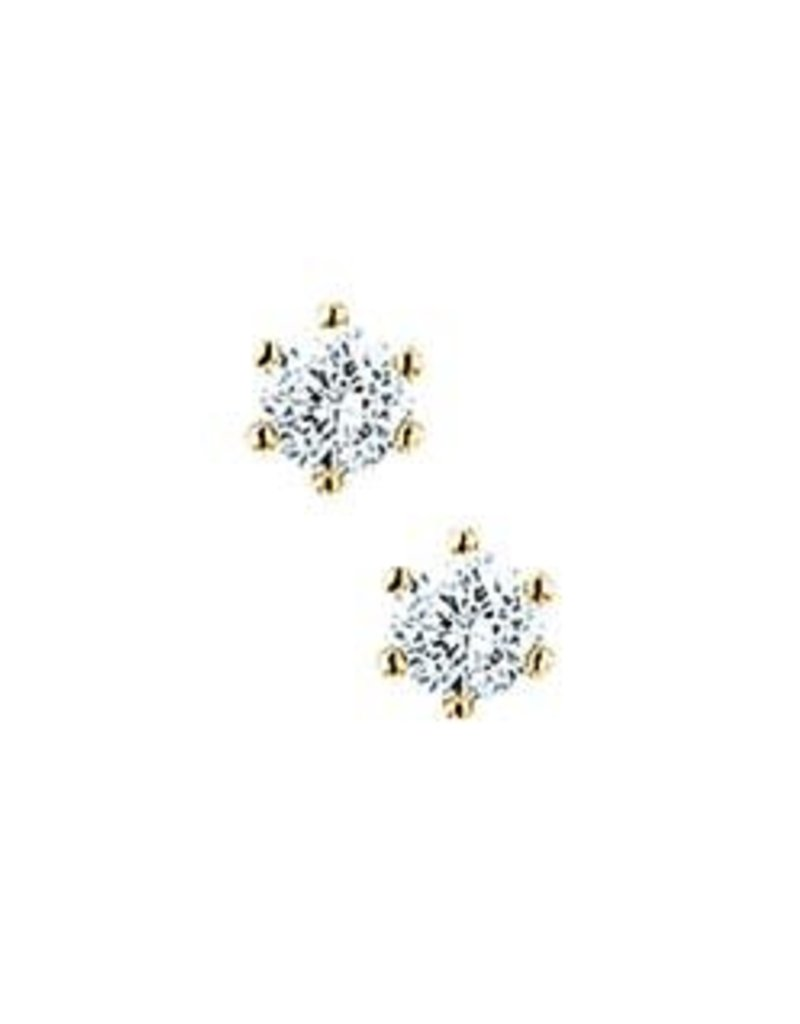 Gouden chaton oorknoppen - Zirkonia - 3.5 mm
