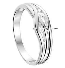 Zilveren ring - Mat/glanzend - Zirkonia - Maat 16.5