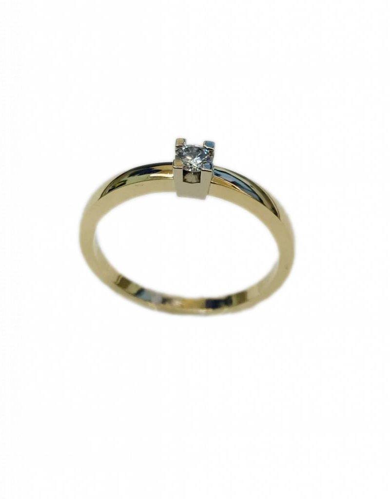Geel/Wit gouden solitair ring - 14 karaats - Briljant - 0.13 crt - TW/VS - Maat 17.5