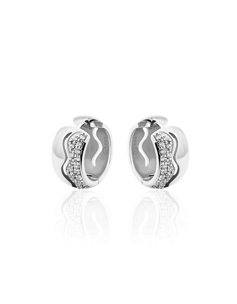 Gisser Zilveren creolen - Gerhodineerd - Zirkonia