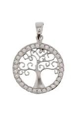 Kasius Zilveren hanger - Levensboom - Zirkonia