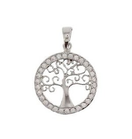 Zilveren hanger - Levensboom - Zirkonia