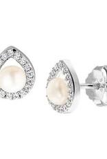 Zilveren oorknoppen - Gerhodineerd - Zirkonia - Zoetwaterparel