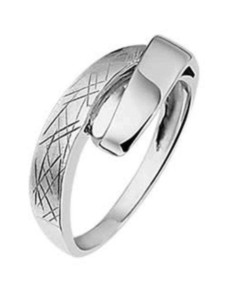 Zilveren ring - Gescratcht - Maat 18.5