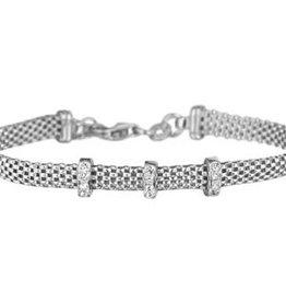Zilveren armband - Zirkonia - Gerhodineerd - 7 mm - 17 + 2 cm