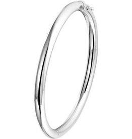 Zilveren Bangle - Gerhodineerd - Scharnier - Ronde buis - 5 mm - 60