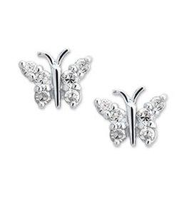 Zilveren ooknoppen - Zirkonia - Gerhodineerd - Vlinder