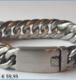 Thomss Thomss - Stalen schakelarmband - Gematteerd - 21 cm - 16 mm