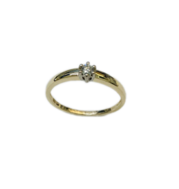 Gouden solitair ring - 14 karaats - Wit/geel - Briljant - 0.08 crt - Wit/VSi - Maat 17.5